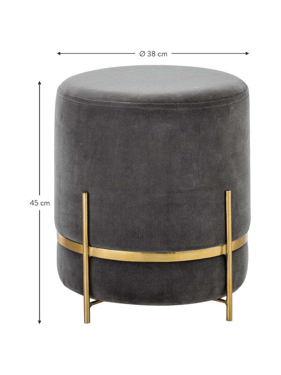 Samt-Hocker Haven, Bezug: Baumwollsamt, Fuß: Metall, pulverbeschichtet, Grau, Goldfarben, ∅ 38 x H 45 cm