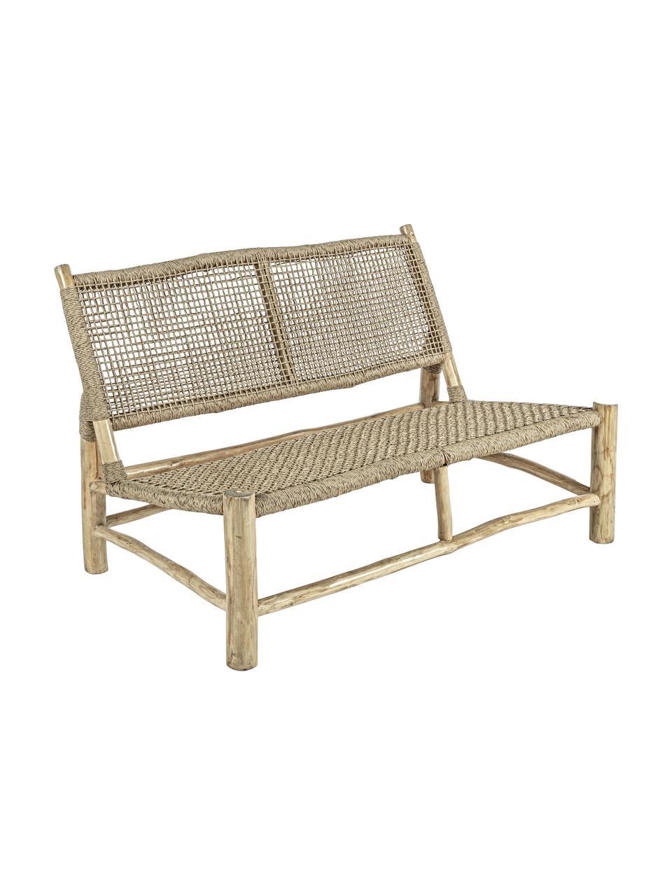 Canapé de jardin lounge en bois de teck Lampok (2 places), Beige
