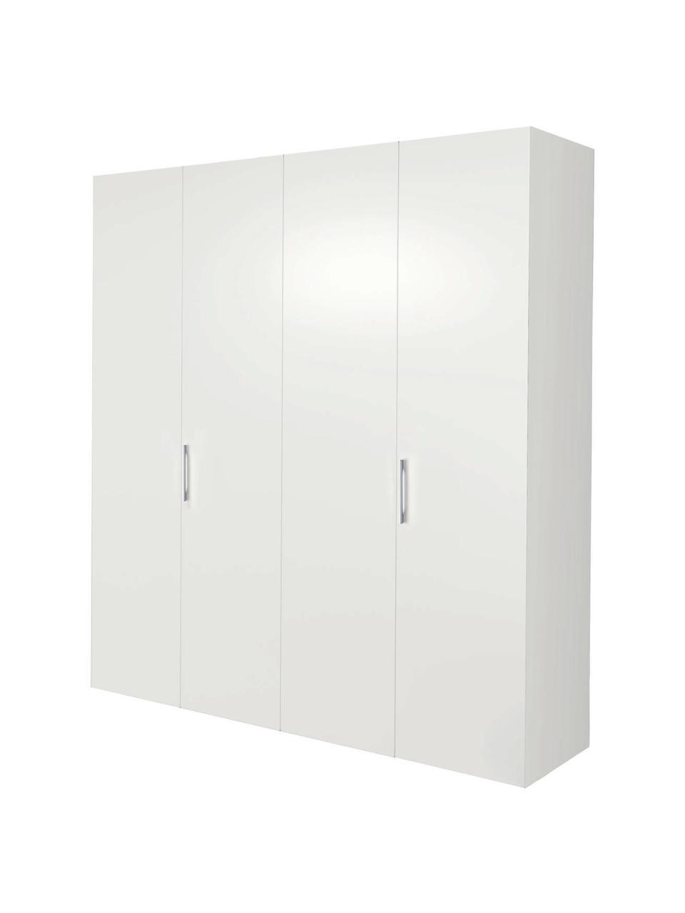 Kleiderschrank Madison 4-türig, inkl. Montageservice, Korpus: Holzwerkstoffplatten, lac, Weiß, Ohne Spiegeltür, 202 x 230 cm