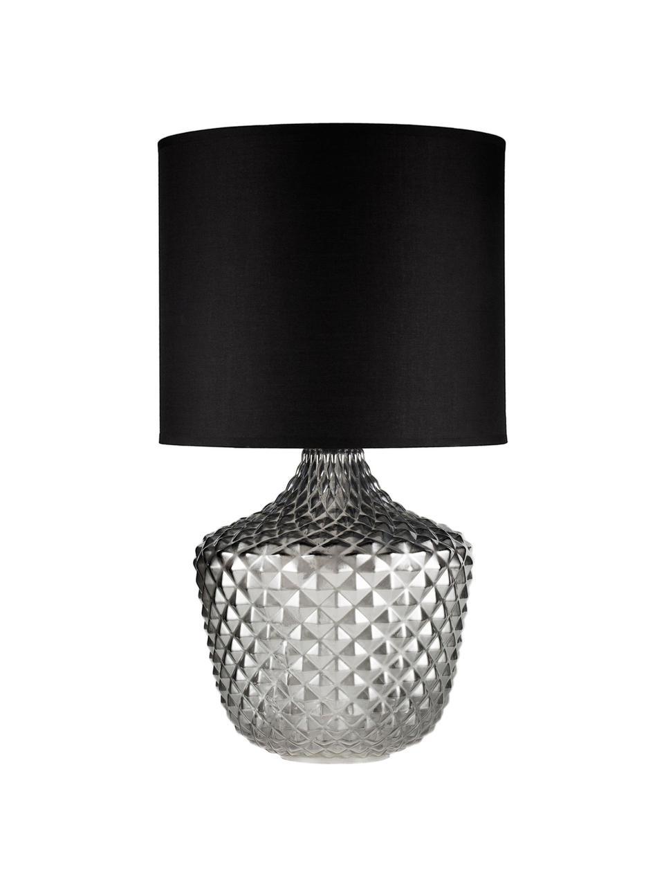 Lampada da comodino in vetro Brilliant Jewel, Paralume: tessuto, Base della lampada: vetro, Grigio, nero, Ø 32 x Alt. 56 cm