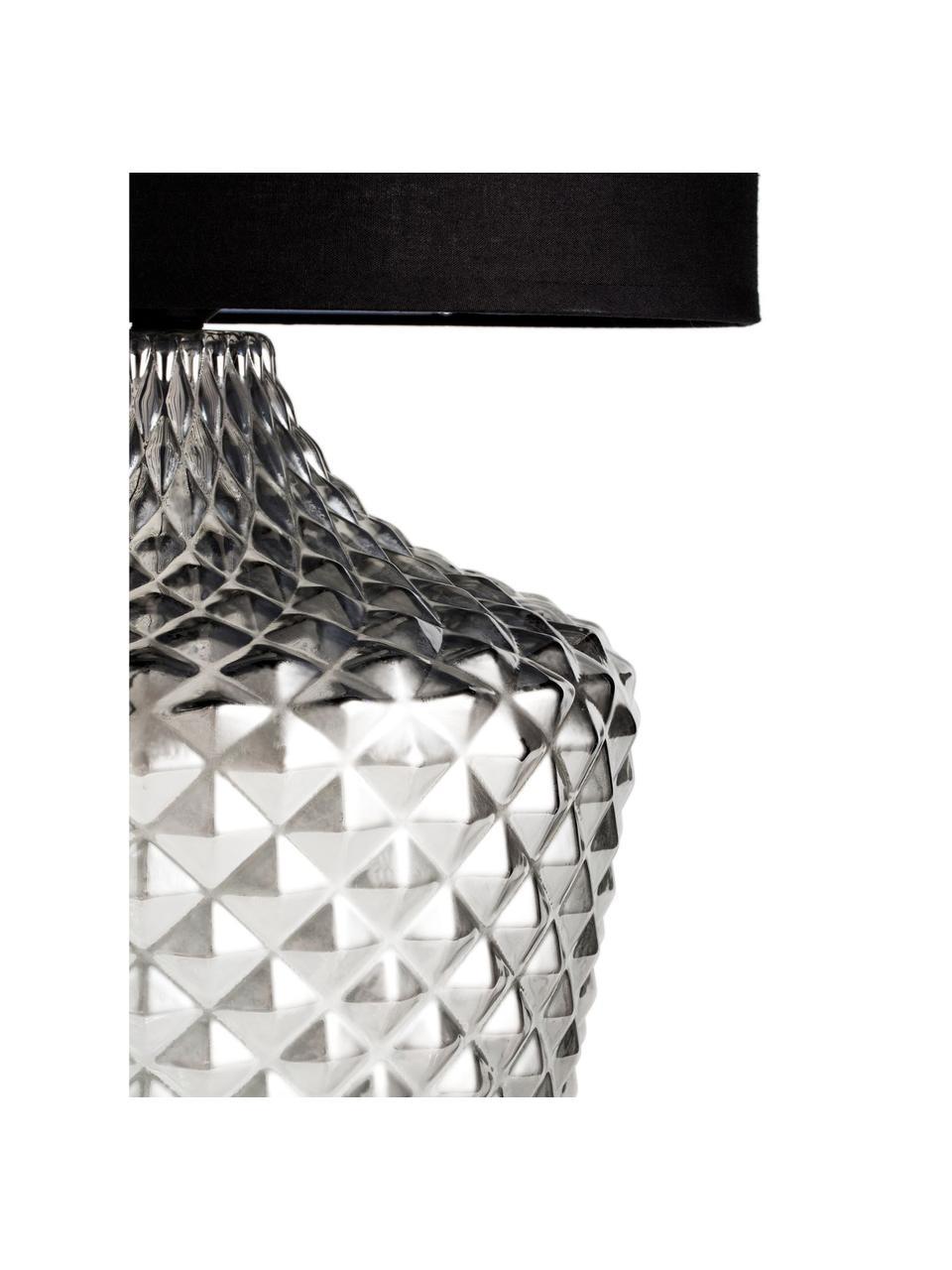 Große Tischlampe Brilliant Jewel aus Glas, Lampenschirm: Stoff, Lampenfuß: Glas, Grau, Schwarz, Ø 32 x H 56 cm