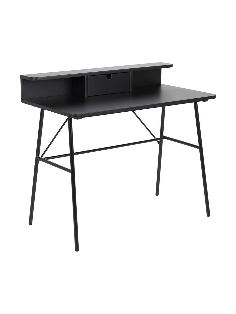 Bureau Pascal in zwart met lade, Poten: gelakt metaal, Zwart, 100 x 55 cm