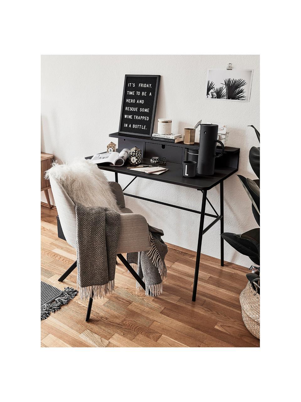Bureau industriel noir avec tiroir Pascal, Noir