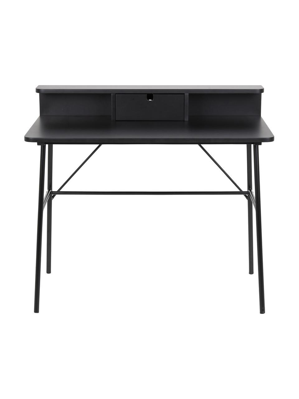 Schreibtisch Pascal in Schwarz mit Schublade , Beine: Metall, lackiert, Tischplatte und Aufbau: Mitteldichte Holzfaserpla, Schwarz, B 100 x T 55 cm