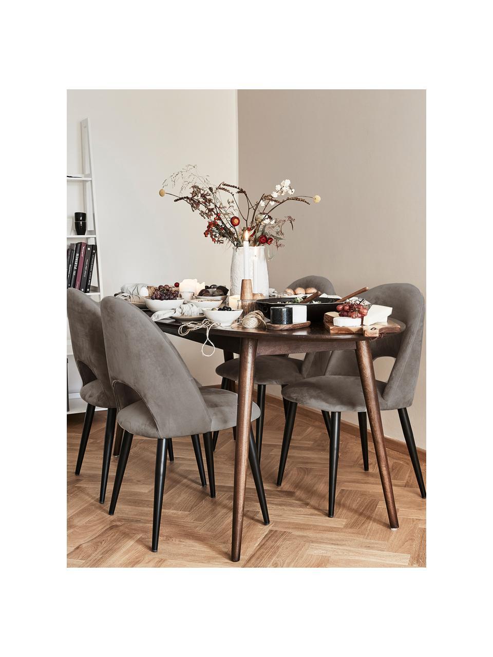 Krzesło tapicerowane z aksamitu Rachel, Tapicerka: aksamit (poliester) Dzięk, Nogi: metal malowany proszkowo, Aksamitny taupe, S 53 x G 57 cm
