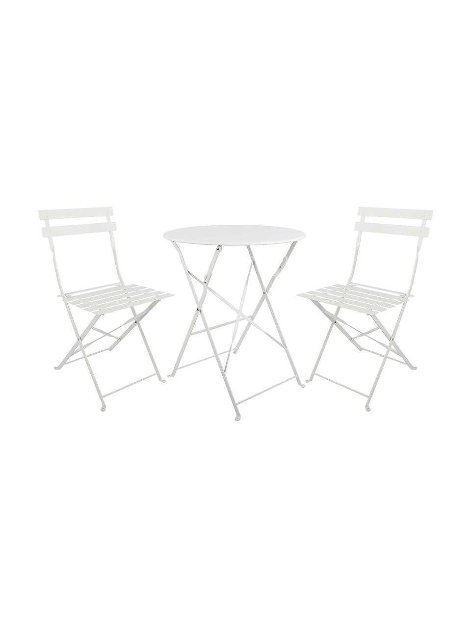 Set tavolo e sedie da balcone in metallo Chelsea 3 pz, Metallo verniciato a polvere, Bianco, Set in varie misure