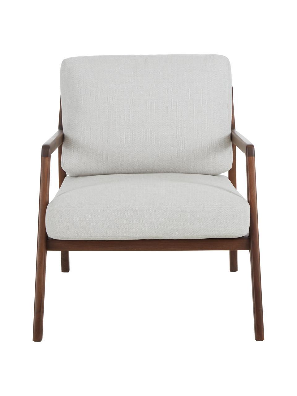 Fauteuil Becky van walnoothout, Bekleding: polyester, Frame: massief walnoothout, Geweven stof beige, walnoothoutkleurig, B 73 x D 90 cm