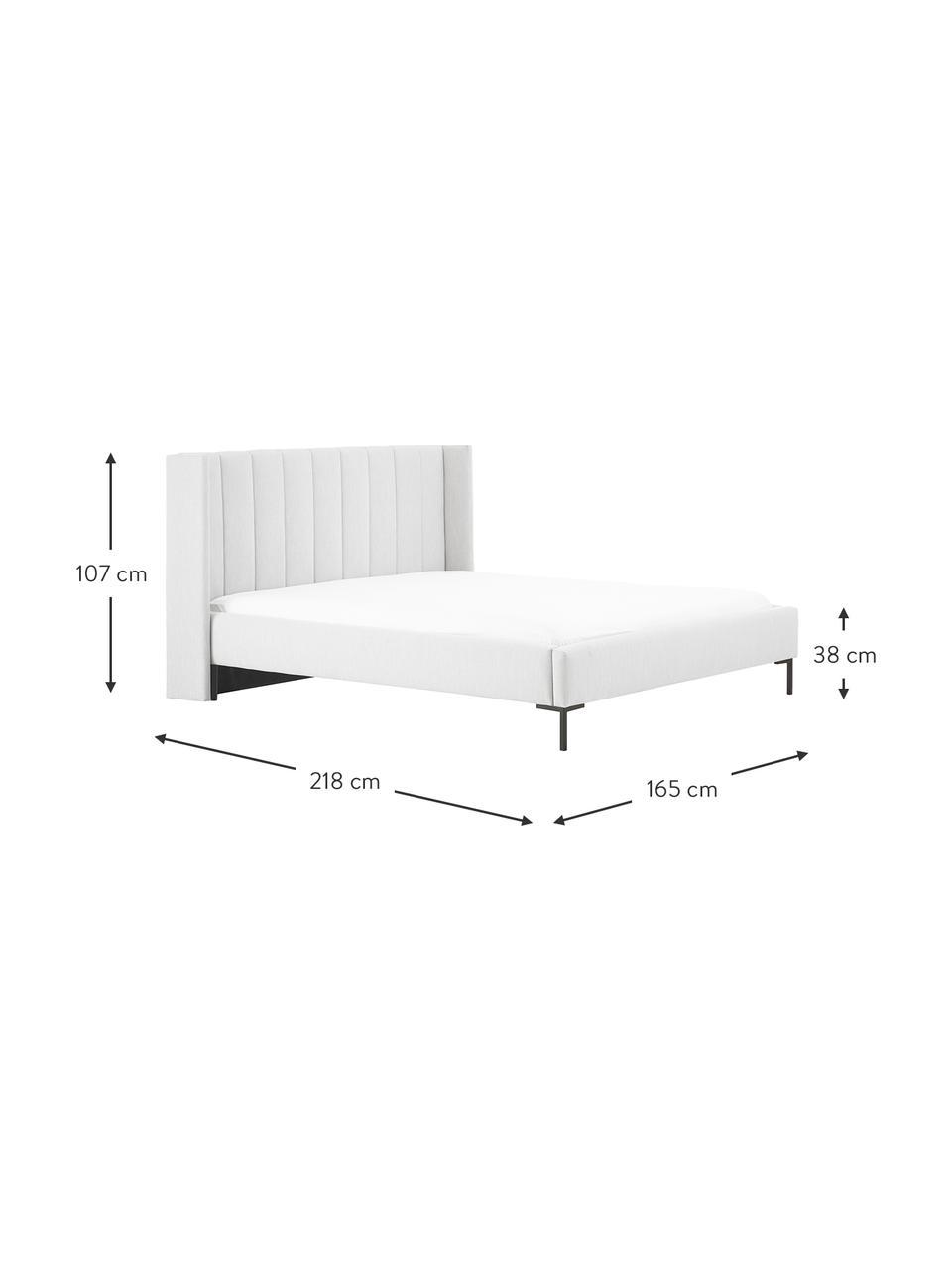 Gestoffeerd bed Dusk in lichtgrijs, Frame: massief grenenhout en pla, Bekleding: fijn gestructureerde gewe, Poten: gepoedercoat metaal, Lichtgrijs, 200 x 200 cm