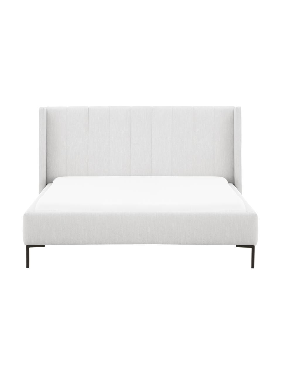 Łóżko tapicerowane Dusk, Tapicerka: tkanina o drobnej struktu, Korpus: lite drewno sosnowe i pły, Nogi: metal malowany proszkowo, Jasny szary, S 200 x D 200 cm