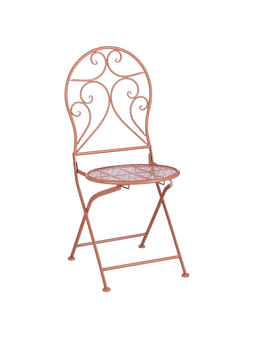 Składane krzesło balkonowe Ninet, 2 szt., Metal powlekany, Terakota, S 40 x W 92 cm