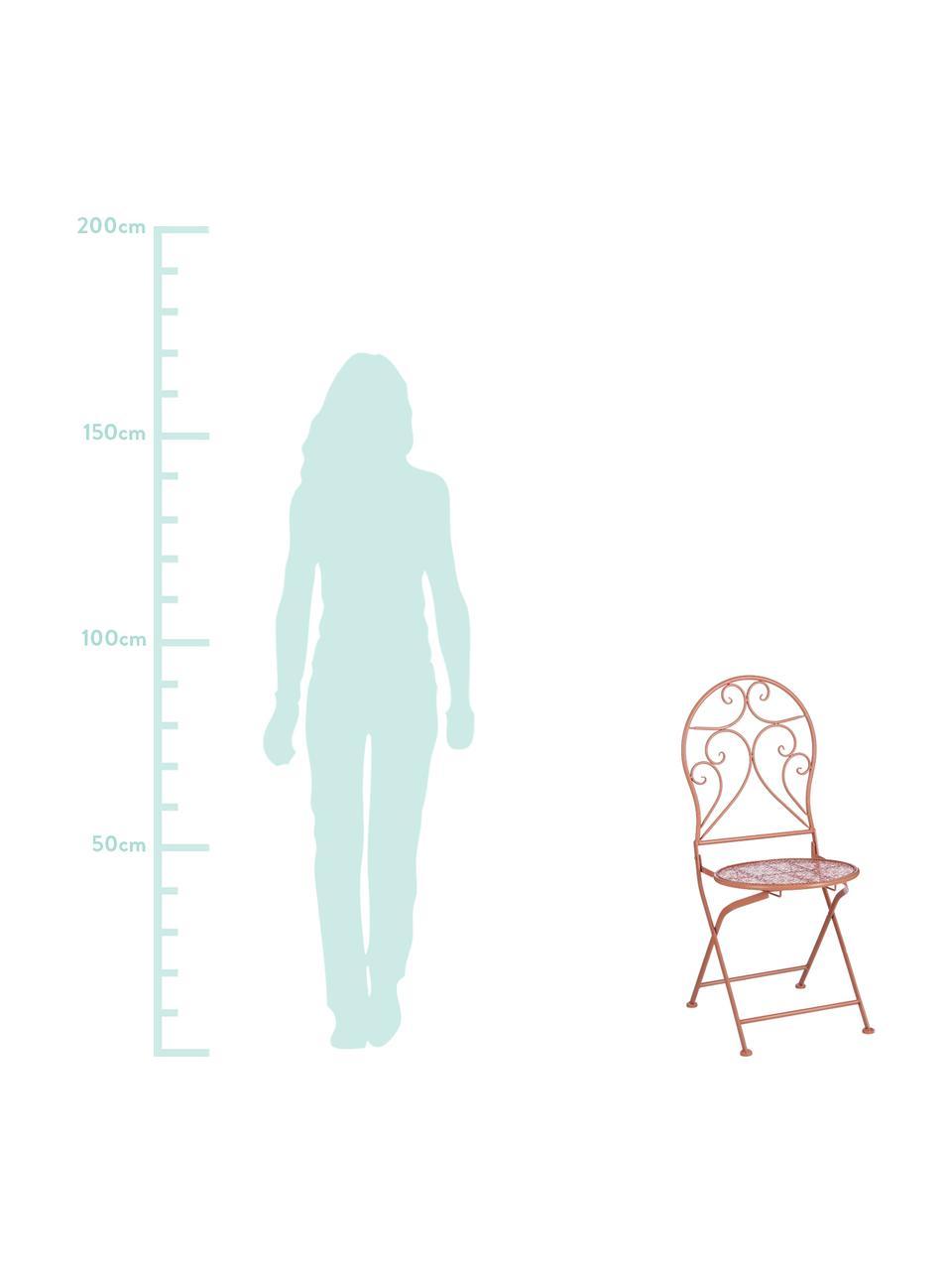 Klappbare Balkonstühle Ninet, 2 Stück, Metall, beschichtet, Terrakotta, 40 x 92 cm