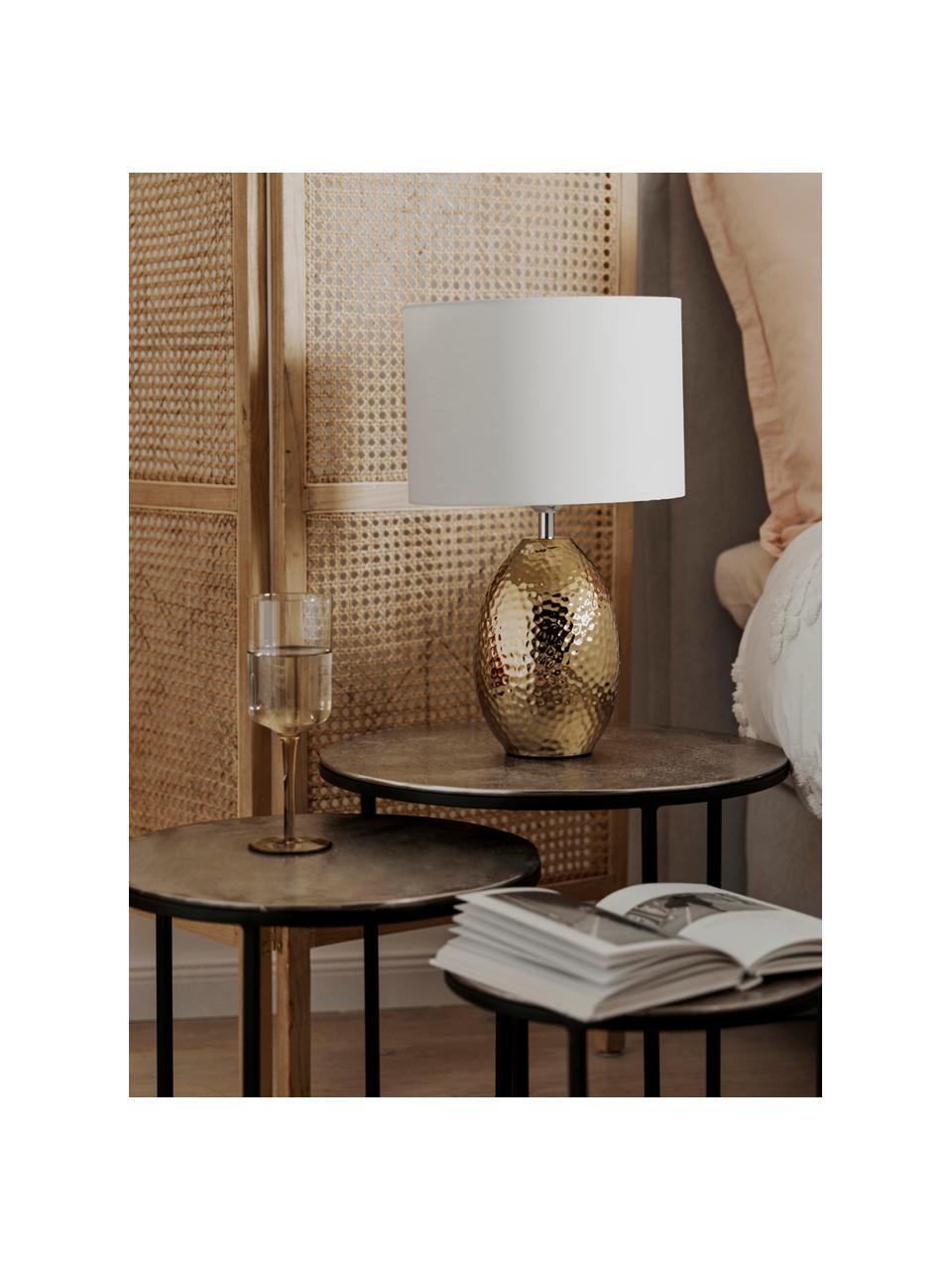 Lampada da tavolo color bianco-dorato Eleanora, Paralume: tessuto, Base della lampada: ceramica, Bianco, dorato, Ø 28 x Alt. 47 cm