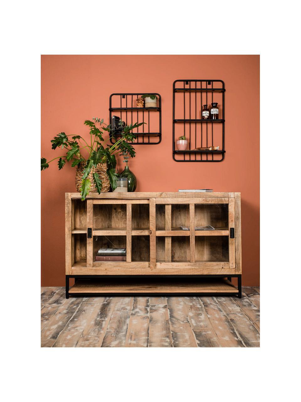 Ripiano a muro stile industriale Hilly, Ripiani: legno di mango, Struttura: metallo verniciato a polv, Marrone, nero, Larg. 50 x Alt. 50 cm