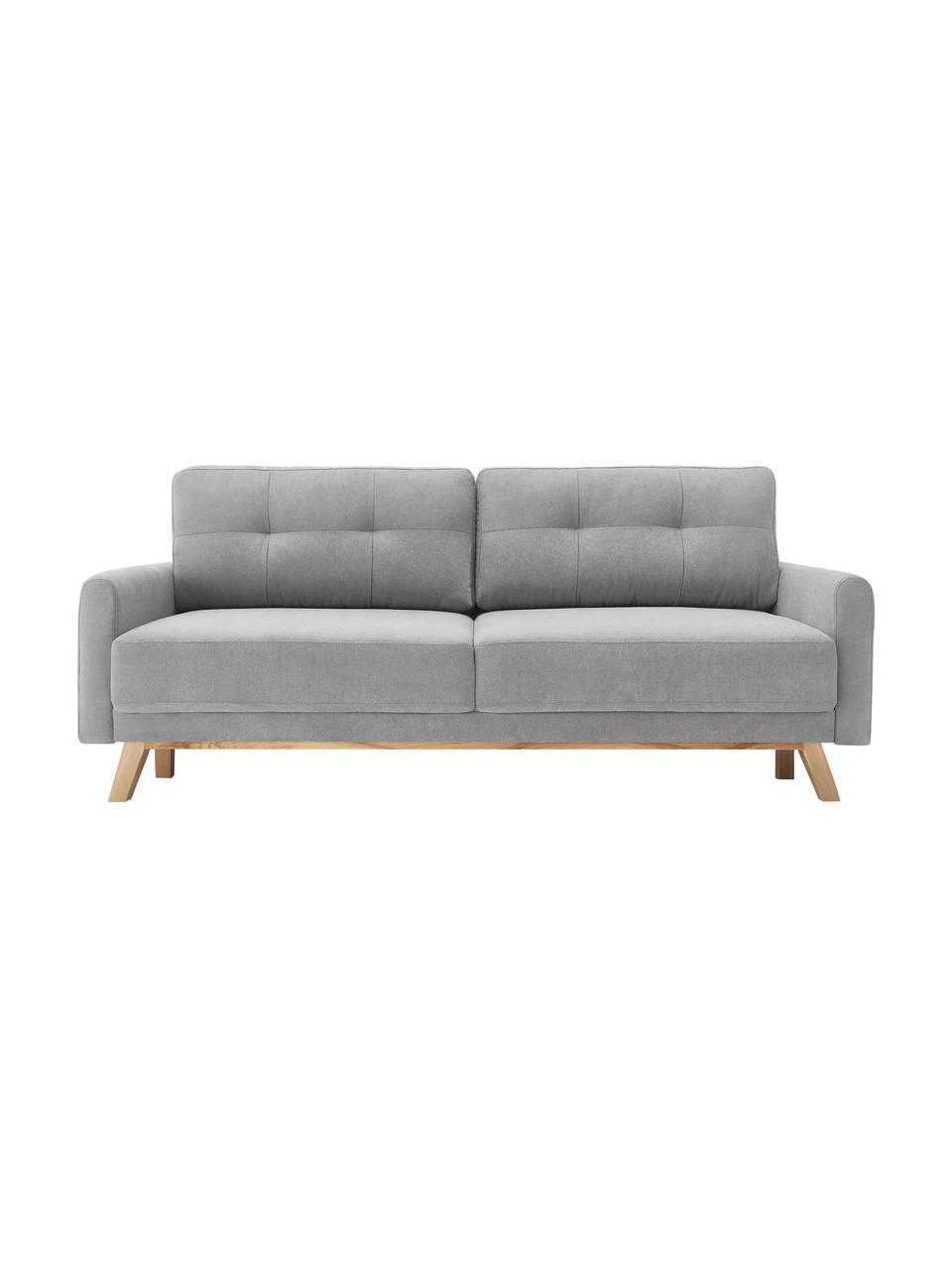 Sofa rozkładana z aksamitu ze schowkiem Balio (3-osobowa), Tapicerka: 100% aksamit poliestrowy , Nogi: drewno naturalne, Aksamitny jasny szary, S 216 x G 102 cm