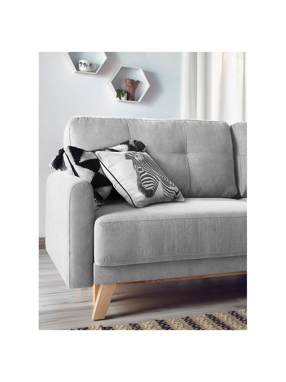 Fluwelen slaapbank Balio (3-zits) in lichtgrijs met opbergfunctie, uitklapbaar, Bekleding: 100% polyester fluweel, Frame: massief hout en spaanplaa, Poten: gelakt metaal, Fluweel lichtgrijs, B 216 x D 102 cm