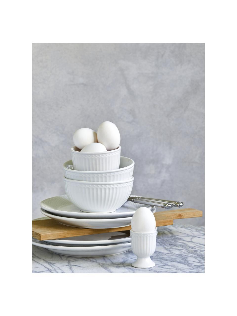 Handgemachte Eierbecher Alice in Weiß mit Reliefdesign, 2 Stück, Steingut, Weiß, Ø 5 x H 7 cm