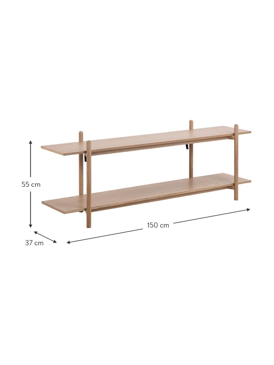 Libreria bassa in legno Asbaek, Pannello di fibra a media densità (MDF) con finitura in legno di quercia, Marrone, Larg. 150 x Alt. 55 cm