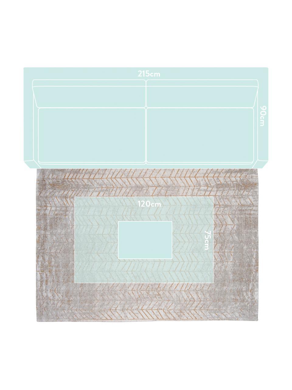 Tappeto con motivo a zigzag dorato J. Ladder, Retro: misto cotone rivestito in, Tonalità grigie, bianco latteo, dorato, Larg. 200 x Lung. 280 cm (taglia L)