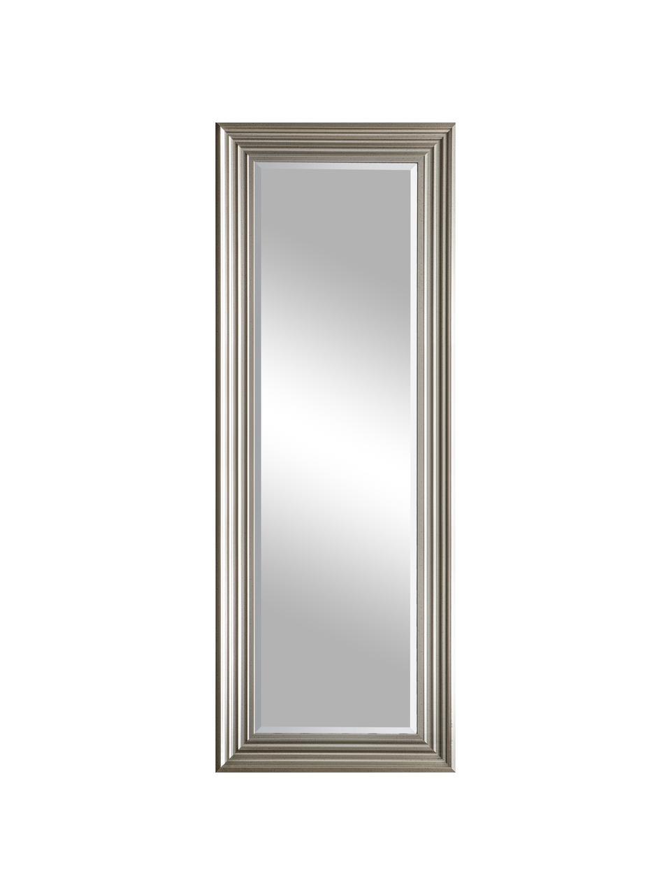 Eckiger Wandspiegel Haylen, Rahmen: Kunststoff, Spiegelfläche: Spiegelglas, Platinfarben, 48 x 132 cm