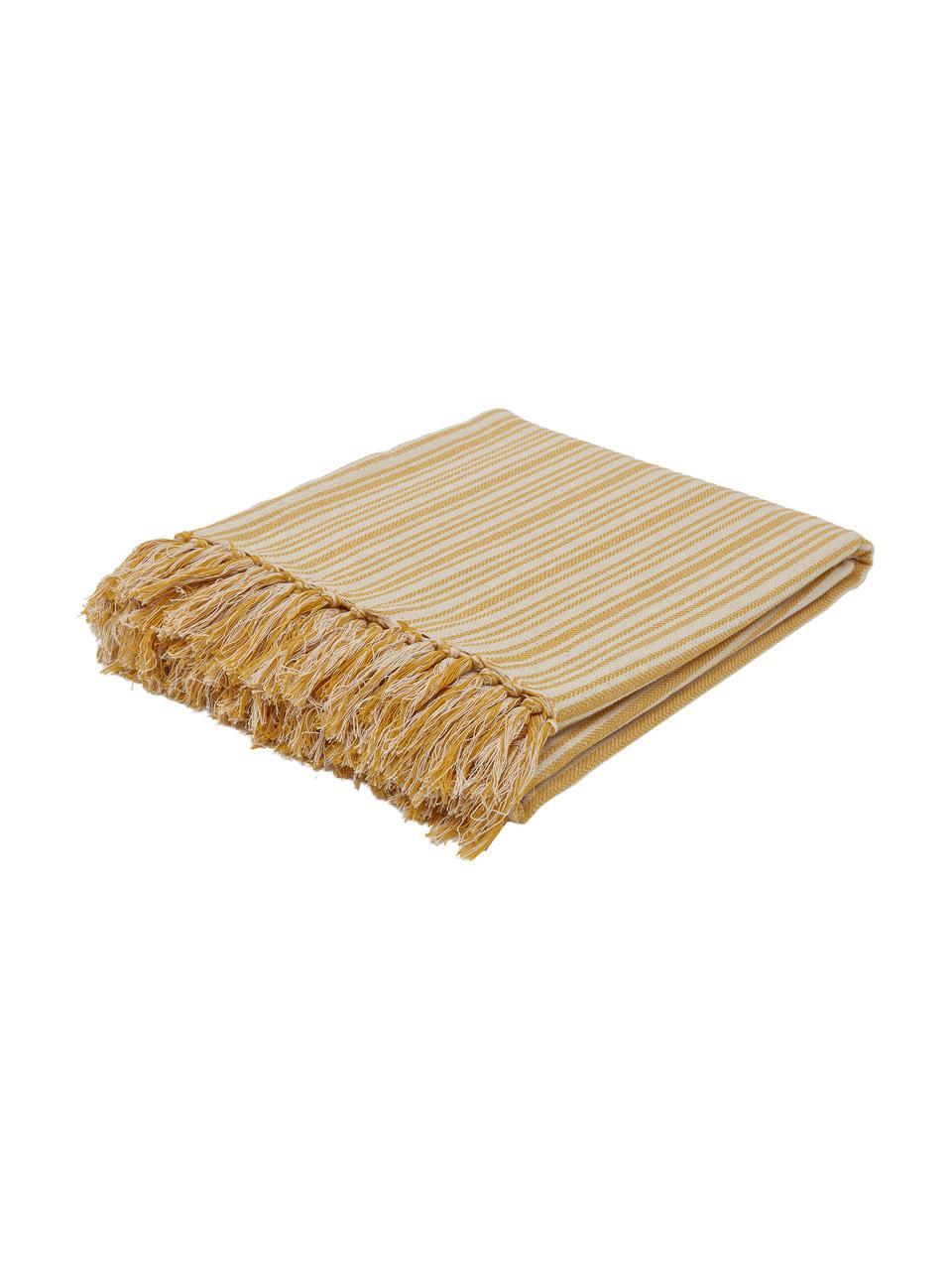 Gestreept bedsprei Puket met franjes, 100% katoen, Mosterdgeel, gebroken wit, B 240 x L 260 cm (voor bedden van 160 x 200)