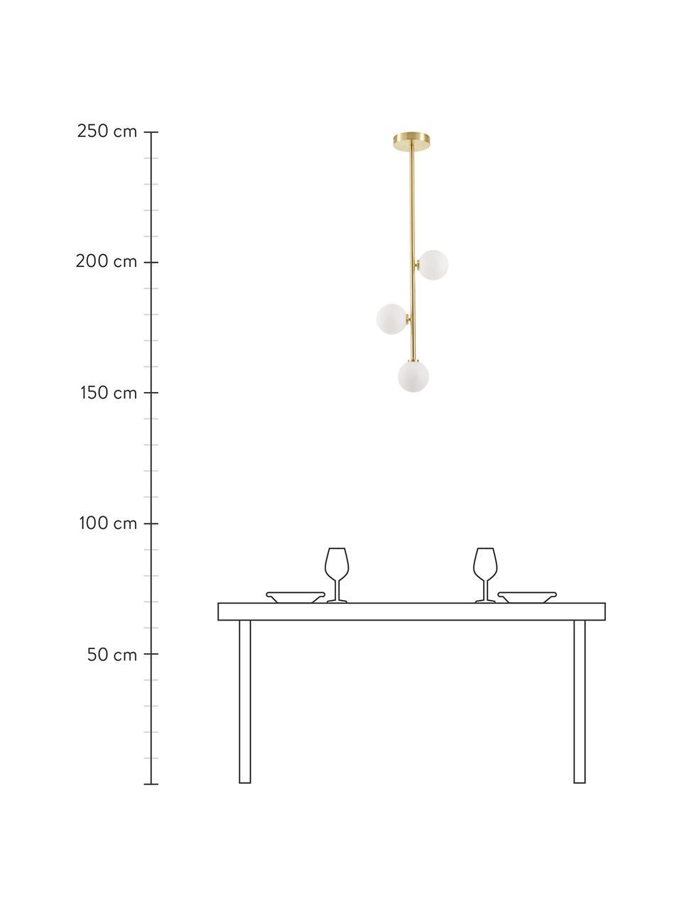 Lampada a sospensione in vetro opale Emily, Struttura: metallo zincato, Paralume: vetro opale, Baldacchino: metallo zincato, Ottone, Larg. 26 x Alt. 90 cm