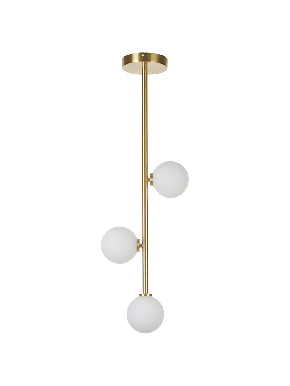 Hanglamp Emily van opaalglas, Baldakijn: gegalvaniseerd metaal, Messingkleurig, 26 x 90 cm