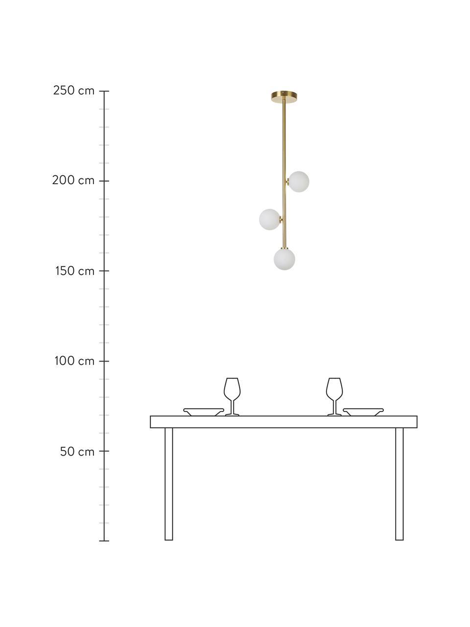 Lampa wisząca ze szkła opalowego Emily, Mosiądz, S 30 x W 90 cm