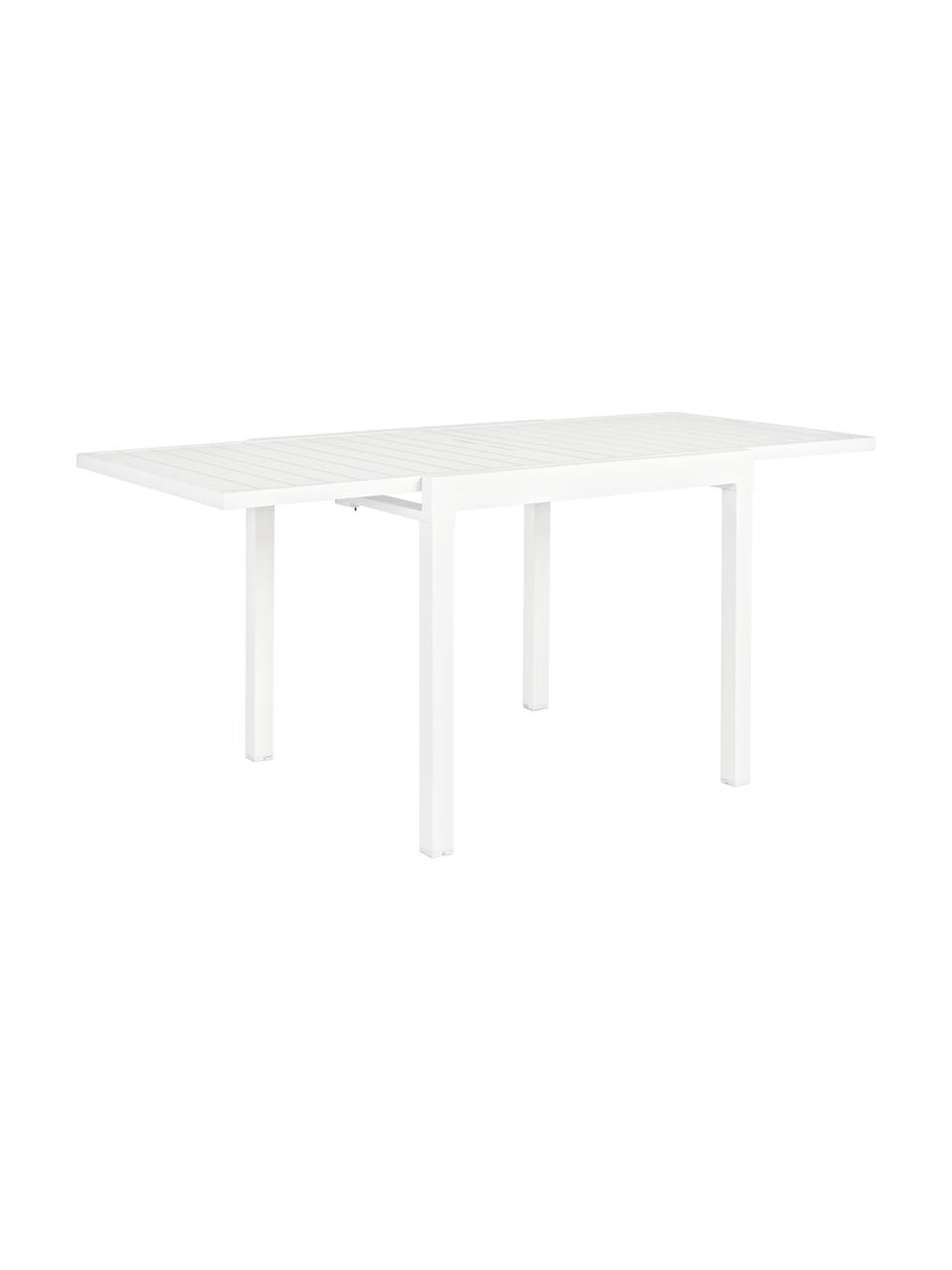 Gartentisch Pelagius, ausziehbar, Aluminium, pulverbeschichtet, Weiß, B 83 bis 166 x T 80 cm