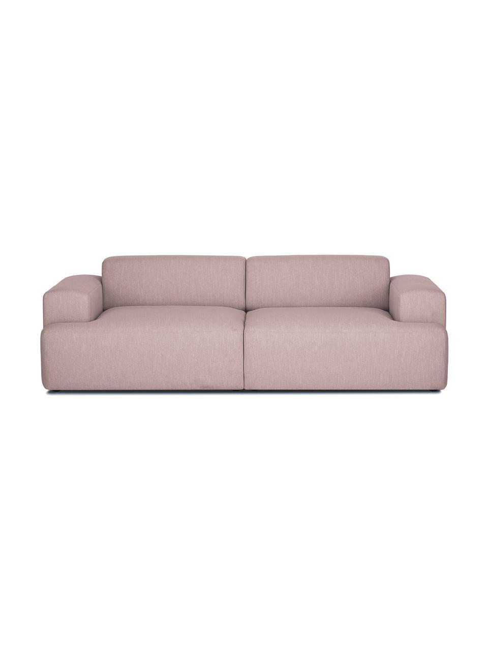 Sofa Melva (3-Sitzer) in Rosa, Bezug: Polyester Der hochwertige, Gestell: Massives Kiefernholz, Spa, Füße: Kiefernholz Die Füße befi, Webstoff Rosa, B 240 x T 101 cm