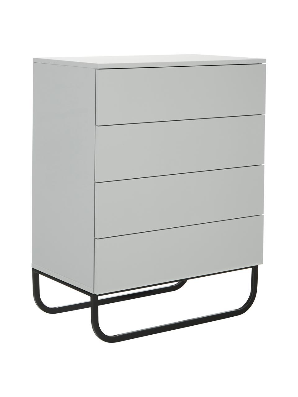 Szafka z szufladami Sanford, Korpus: płyta pilśniowa średniej , Jasny szary, czarny, S 80 x W 106 cm