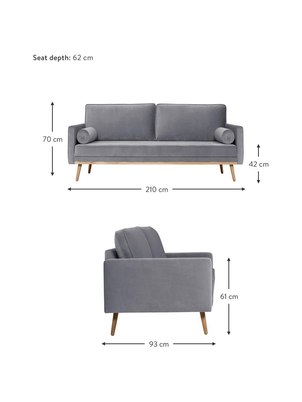 Canapé 3places velours gris Saint, Velours gris