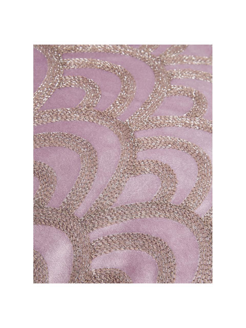Coussin en velours brodé Trole, Rose vif, couleur argentée