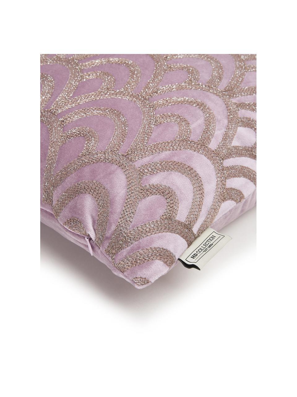 Samt-Kissen Trole mit glänzender Stickerei, mit Inlett, 100% Samt (Polyester), Pink, Silberfarben, 40 x 60 cm