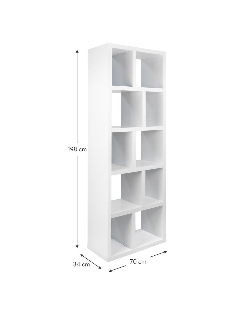 Regał na książki Portlyn, Biały, matowy, S 70 x W 198 cm