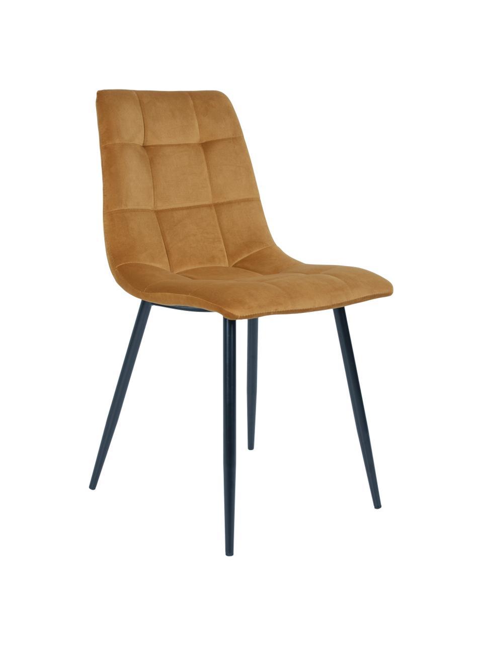 Krzesło tapicerowane z aksamitu Middleton, Tapicerka: aksamit Dzięki tkaninie w, Nogi: metal lakierowany, Musztardowy, S 55 x G 44 cm