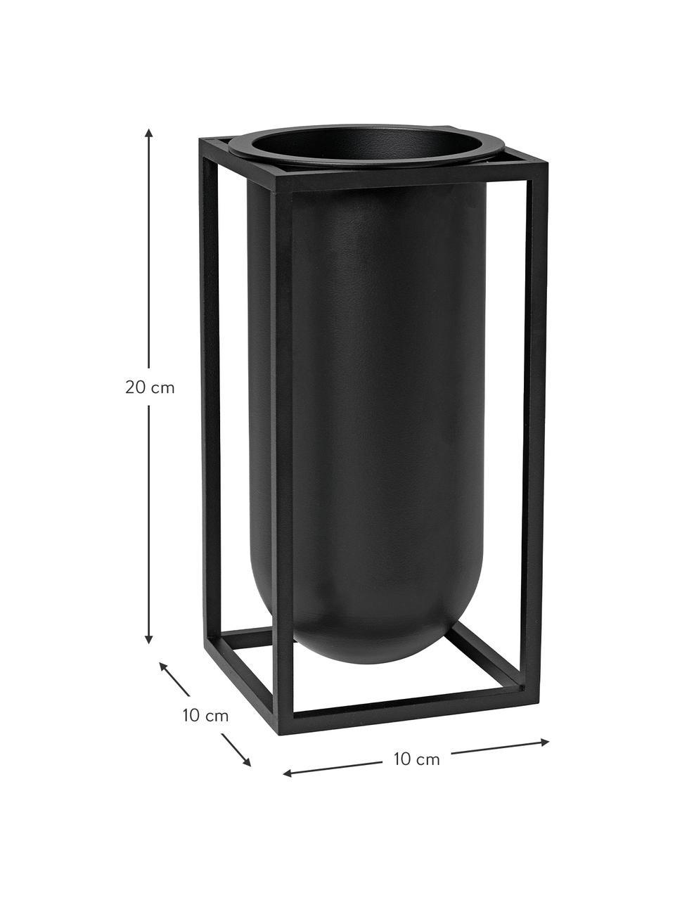 Handgefertigte Vase Kubus aus Aluminium, Aluminium, lackiert, Schwarz, 10 x 20 cm