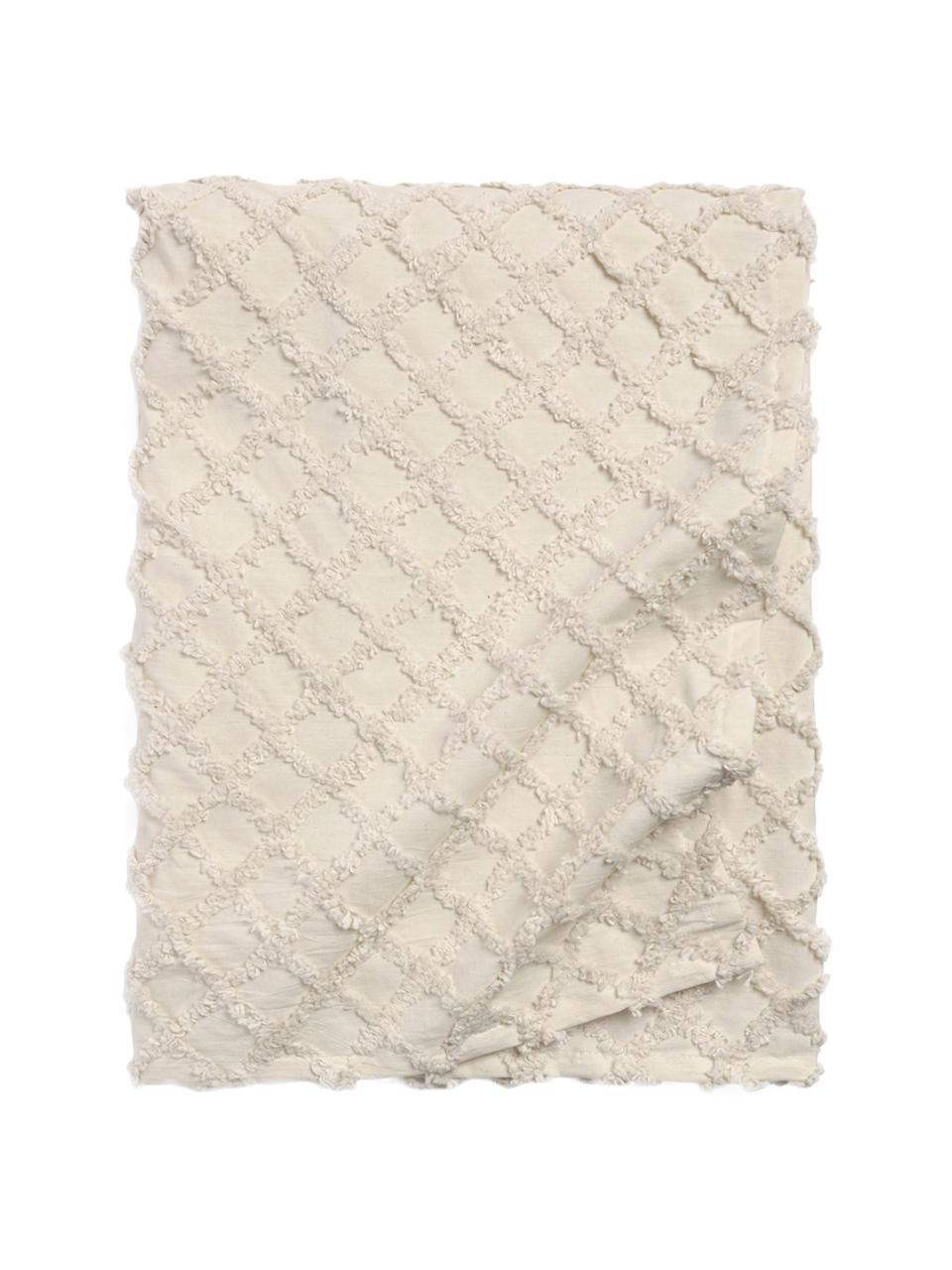 Tagesdecke Royal mit Hoch-Tief-Muster, Baumwolle, Cremeweiß, 240 x 260 cm