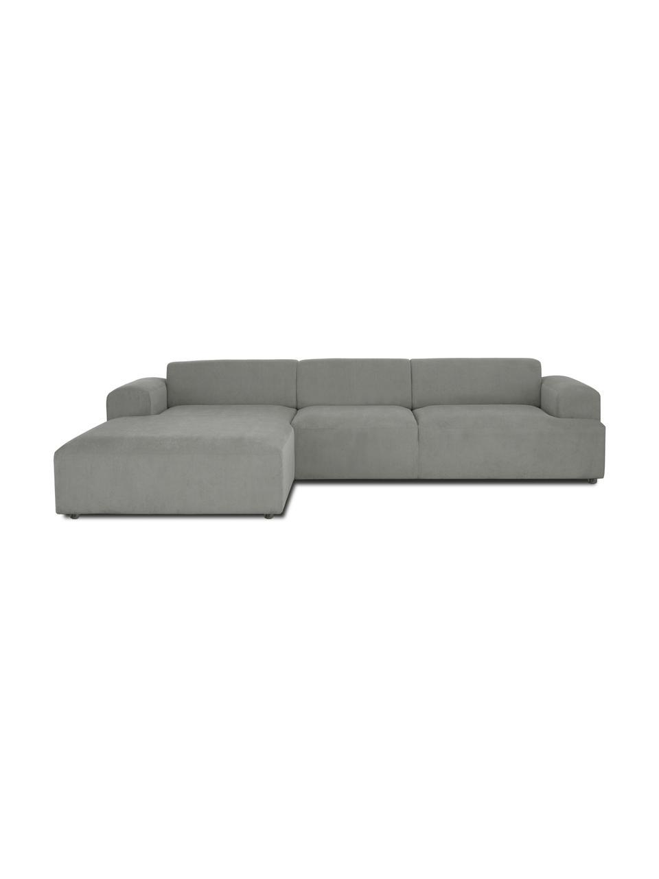 Cord-Ecksofa Melva (4-Sitzer) in Grau, Bezug: Cord (92% Polyester, 8% P, Gestell: Massives Kiefernholz, FSC, Füße: Kunststoff, Cord Grau, B 319 x T 196 cm