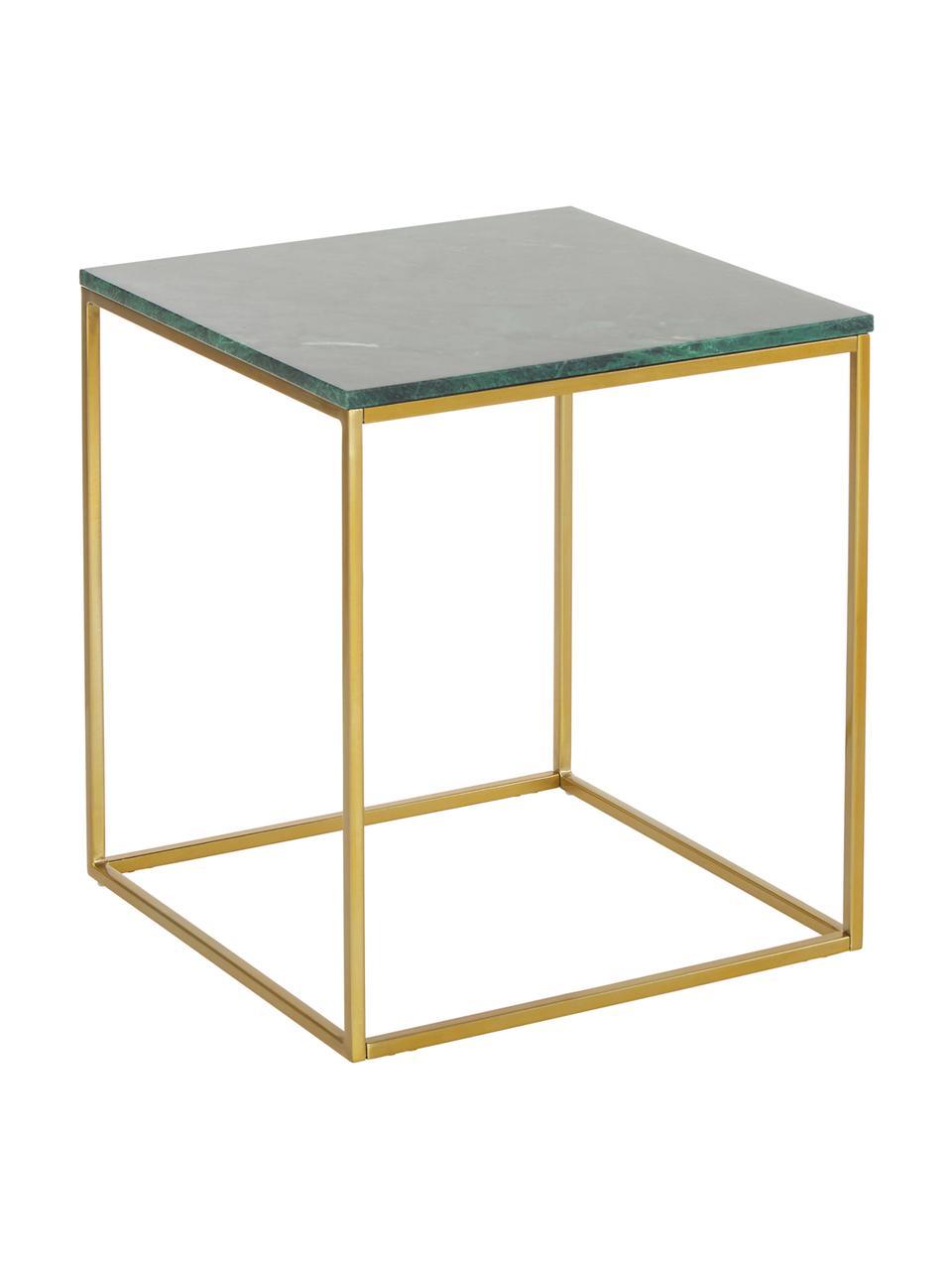 Tavolino con piano in marmo Alys, Struttura: metallo verniciato a polv, Marmo verde, dorato, Larg. 45 x Alt. 50 cm