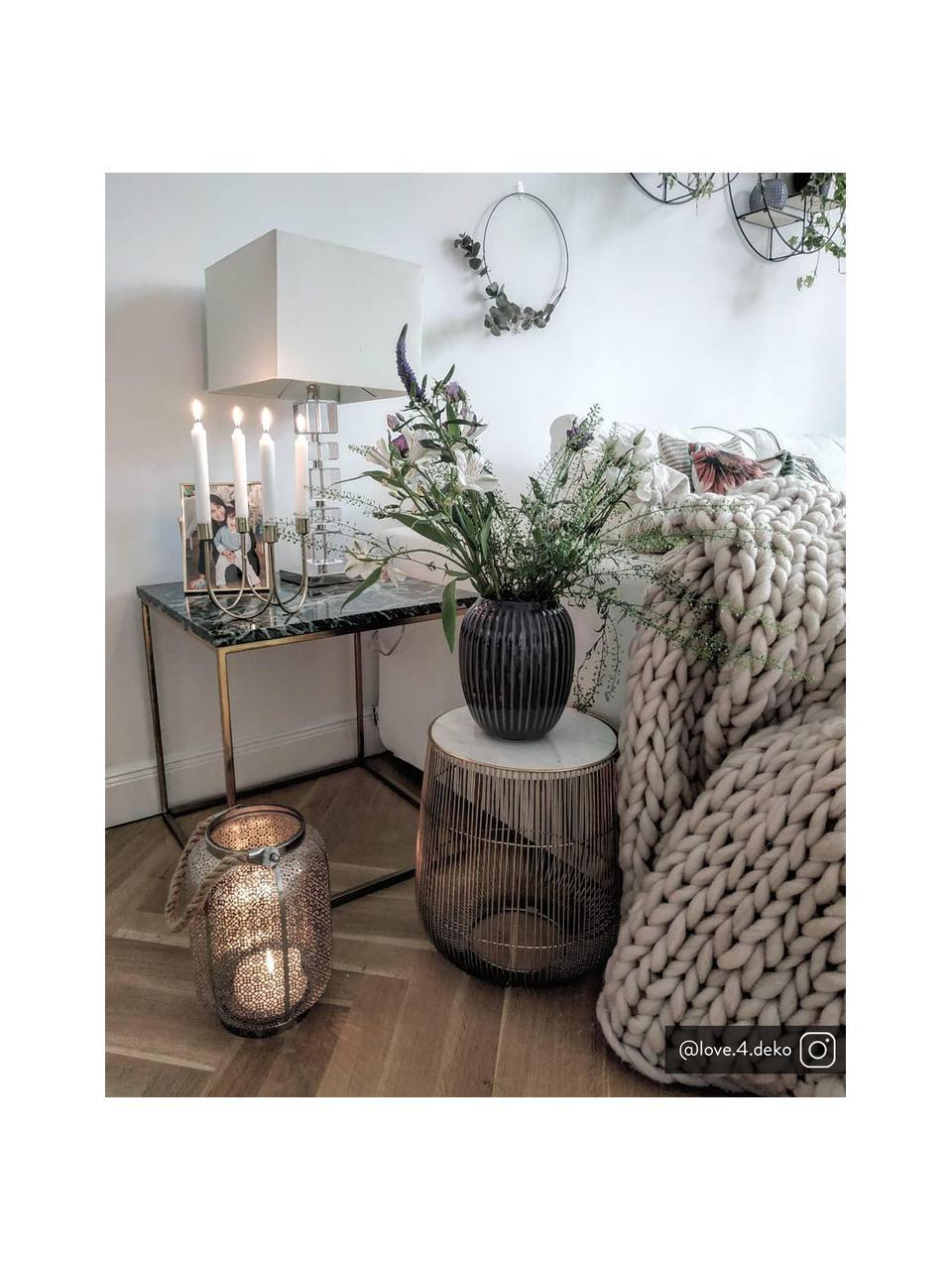 Stolik pomocniczy z marmuru Alys, Blat: marmur, Stelaż: metal malowany proszkowo, Zielony marmur, odcienie złotego, S 45 x W 50 cm