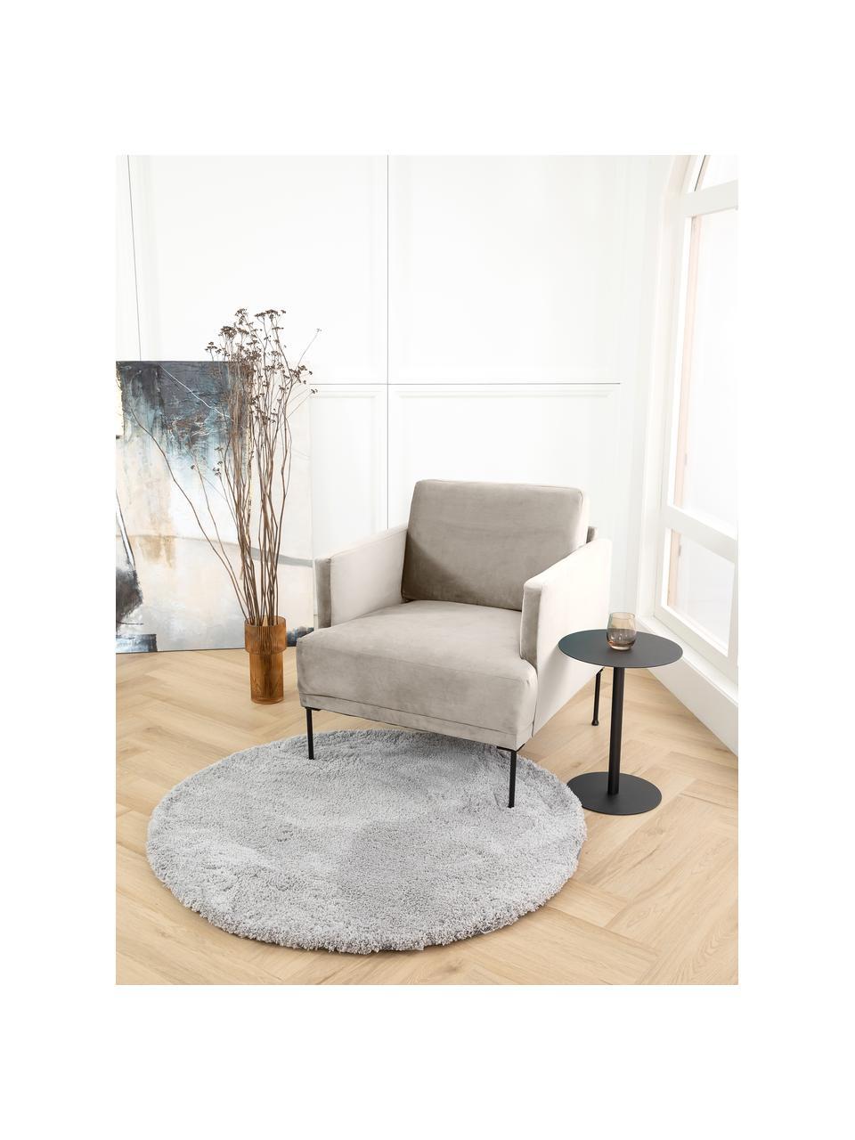 Fluwelen fauteuil Fluente in beige met metalen poten, Bekleding: fluweel (hoogwaardig poly, Frame: massief grenenhout, Poten: gepoedercoat metaal, Fluweel beige, B 74 x D 85 cm