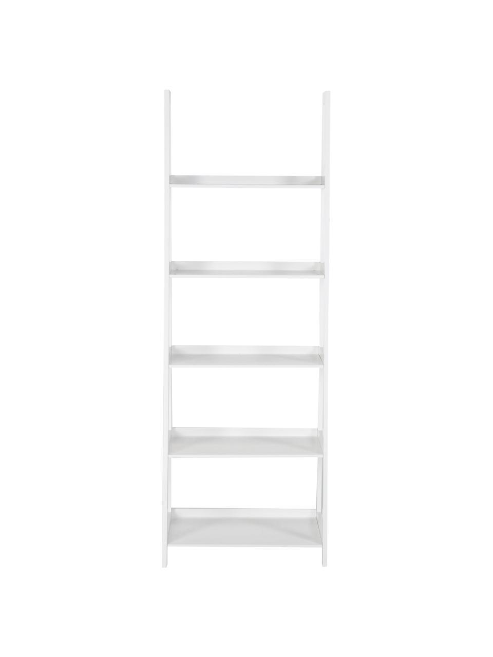 Libreria a scala in bianco Wally, Pannello di fibra a media densità (MDF) verniciato, Bianco lucido, Larg. 63 x Alt. 180 cm