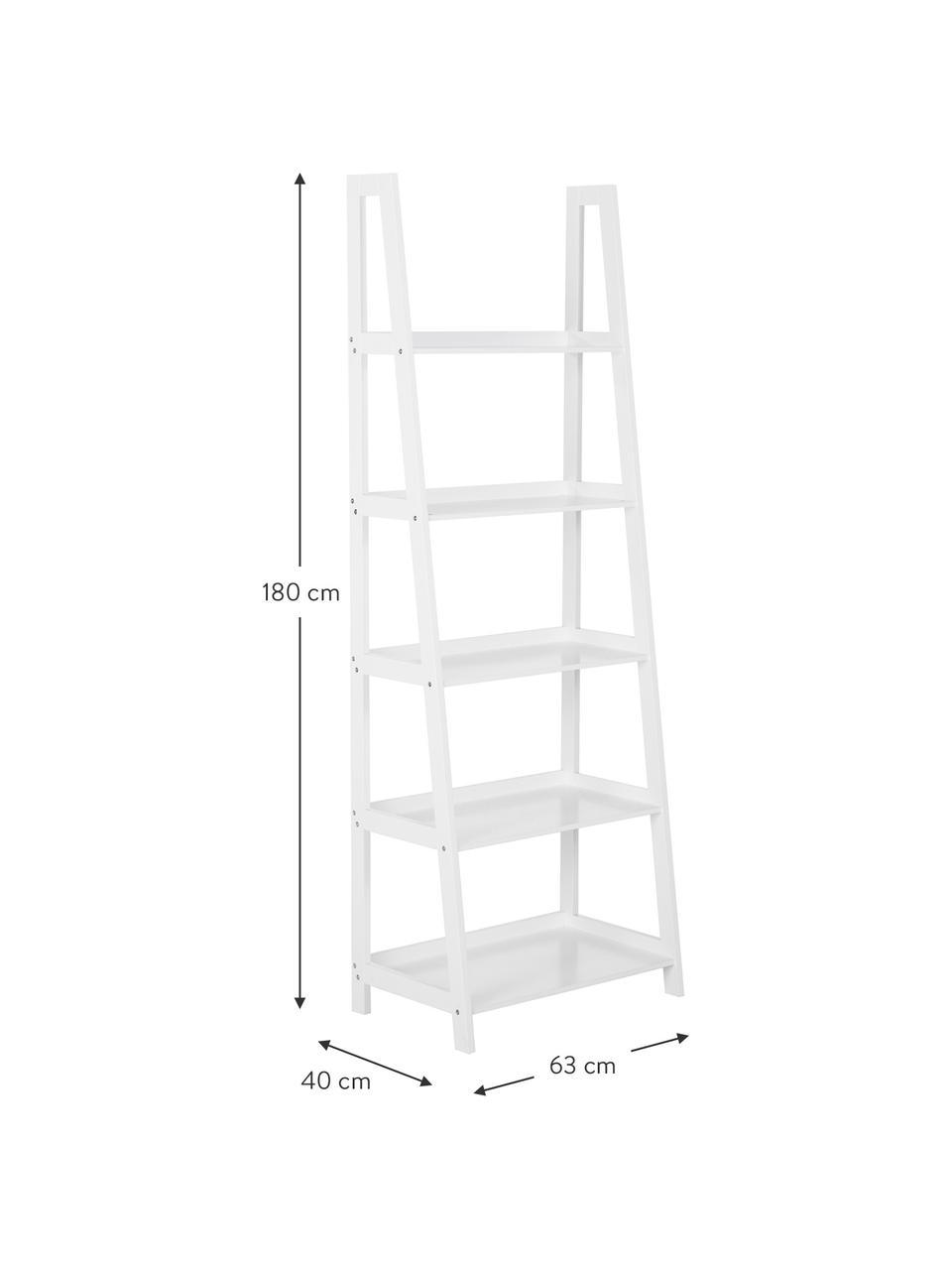 Standregal Wally in Weiß, Mitteldichte Holzfaserplatte (MDF), lackiert, Weiß, hochglanz, 63 x 180 cm