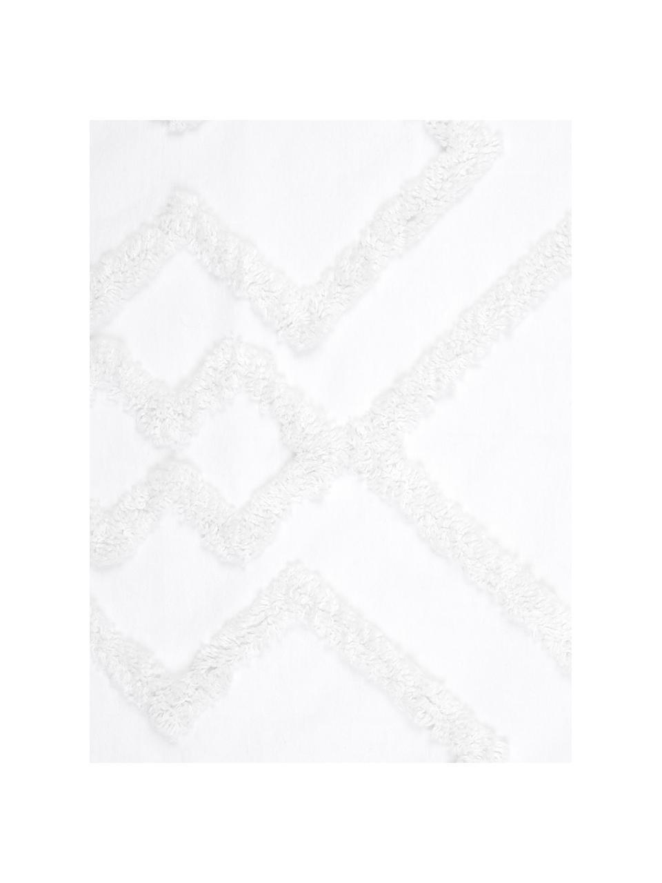 Parure copripiumino in cotone percalle con decoro capitonné Faith, Bianco, 155 x 200 cm + 1 federa 50 x 80 cm