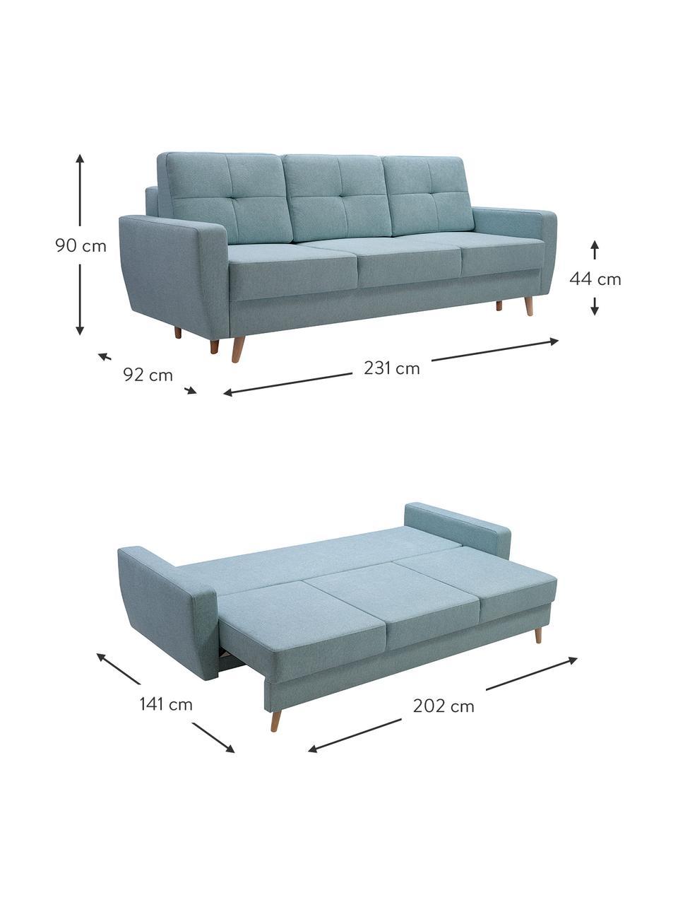 Sofa z funkcją spania i miejscem do przechowywania Bueno (3-osobowa), Tapicerka: 100% poliester, Niebieski, S 231 x G 92 cm