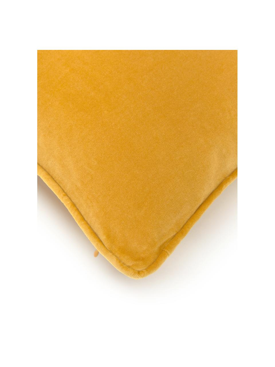Effen fluwelen kussenhoes Dana in okergeel, 100% katoenfluweel, Okergeel, 30 x 50 cm