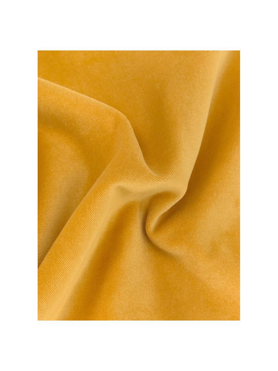 Einfarbige Samt-Kissenhülle Dana in Ockergelb, 100% Baumwollsamt, Ockergelb, 30 x 50 cm