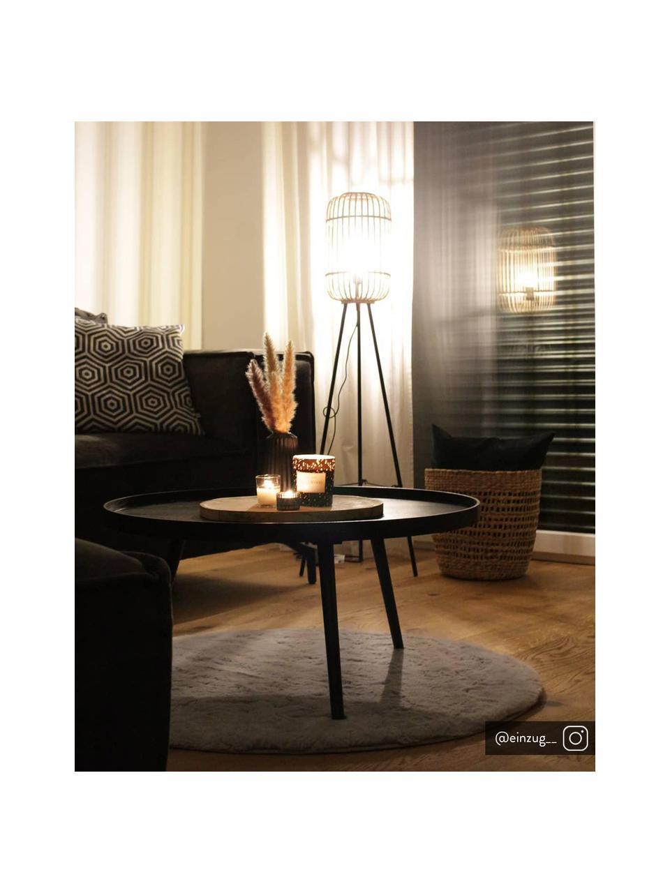 Kleine Tripod Stehlampe Woodrow aus Rattan, Lampenschirm: Rattan, Lampenfuß: Metall, Rattan, Schwarz, Ø 45 x H 130 cm