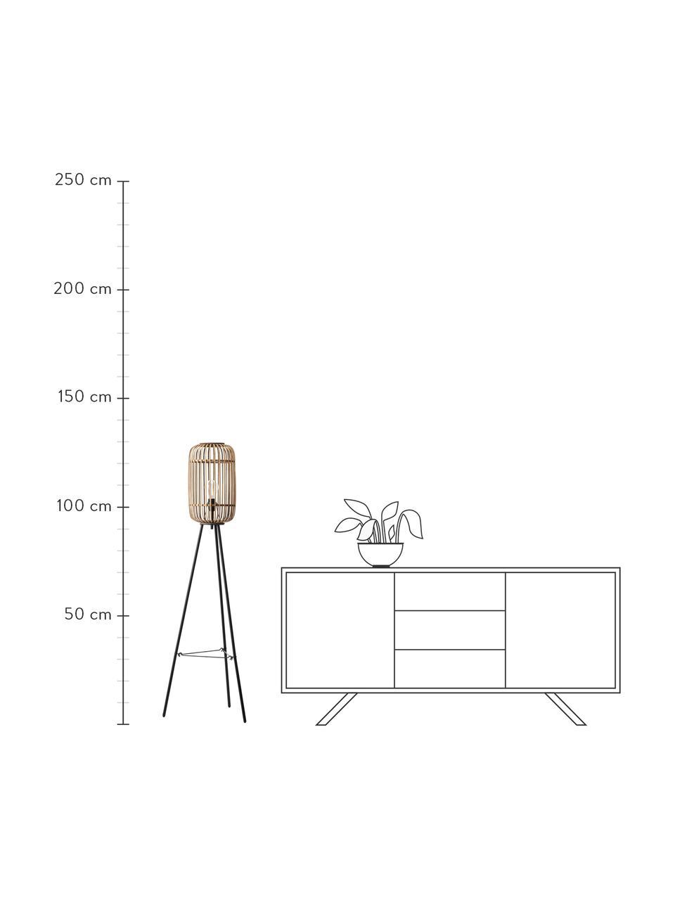 Boho-Stehlampe Woodrow mit Rattanschirm, Lampenschirm: Rattan, Lampenfuß: Metall, Rattan, Schwarz, Ø 45 x H 130 cm