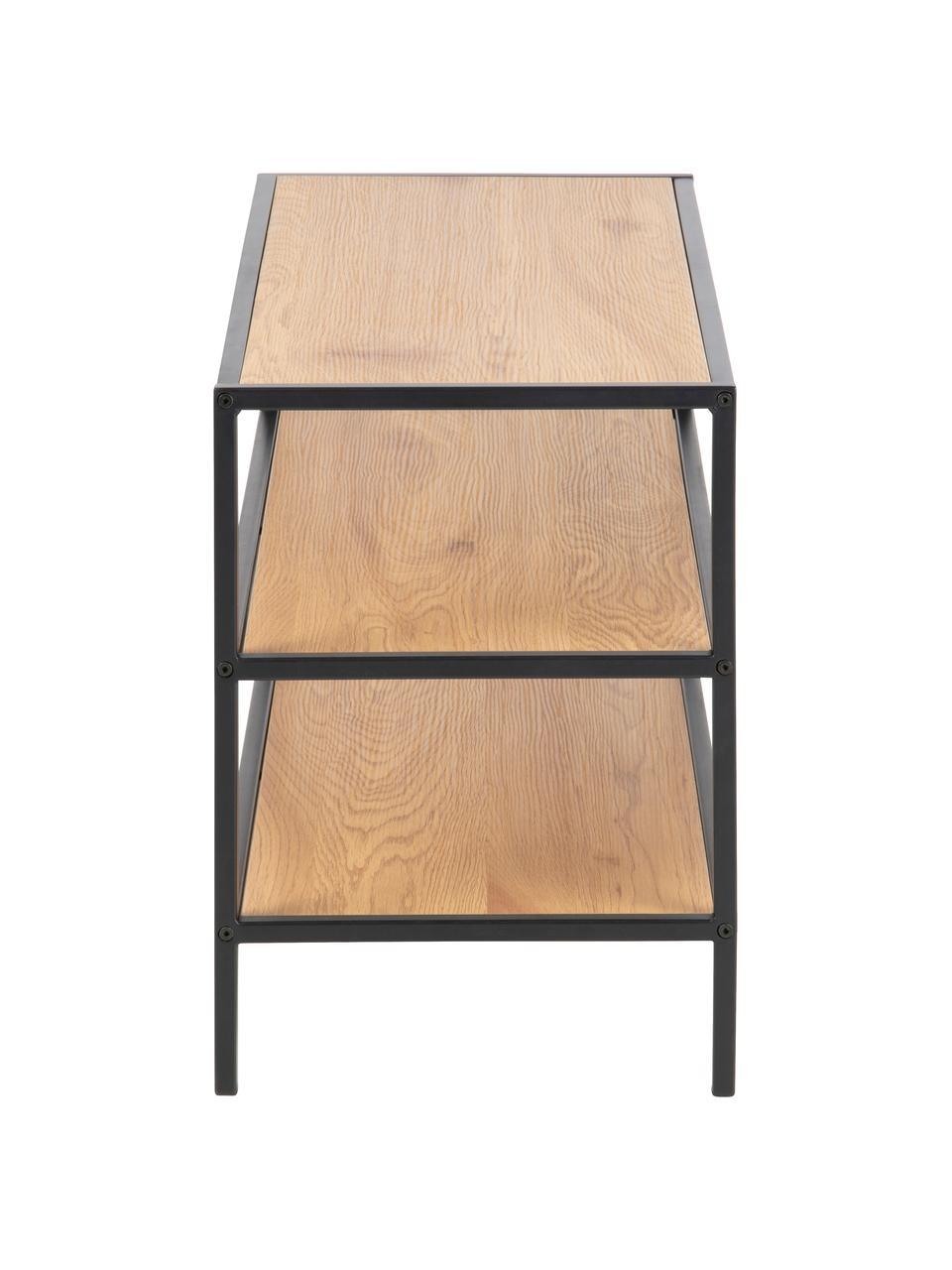 Półka na buty z drewna i metalu Seaford, Stelaż: metal malowany proszkowo, Dzikie drewno dębowe, S 77 x W 50 cm